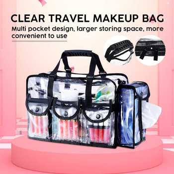 Large Capacity Cosmetic Bags PVC Transparent Travel Tote Clear Organizer Waterproof Professinal Make Up Bag - discount item  39% OFF Special Purpose Bags