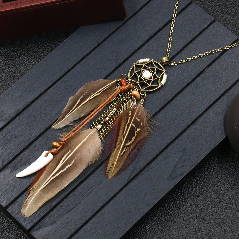 H36a9f98abcce405d84aa0e250df2c087B - Women Bohemian Ethnic Long Chain Feather Pendant Dreamcatcher Necklace Choker Boho Clothing Jewelry Accessories