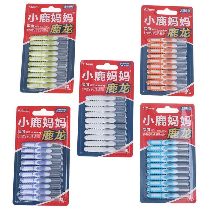 10pcs Interdentale spazzolino Per La Pulizia Dentale Spazzole Fili e cotoni per ricamo Pick Push-pull Stuzzicadenti Per Adulti Pulito Tra I Denti Spazzole per pulizia
