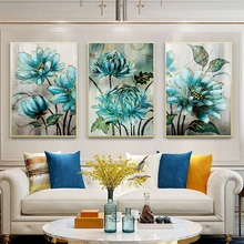Blue Flowers Golden Lace Noble Decorative Poster Modern Nordic Canvas Painting Print Decor Wall Art Pictures For Living Room modern inspirational nordic flowers plants combination canvas painting zebra poster and prints living room decorative painting
