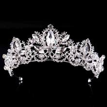 New Fashion Baroque Luxury Crystal Bridal Crown Tiaras Light Gold Diadem Tiaras for Women Bride Wedding Hair Accessories hot(China)