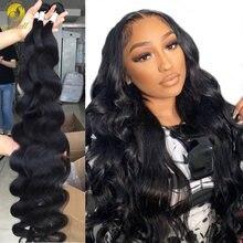 Mishell cabelo brasileiro tecer pacotes com frontal 1/3/4 pçs 30 32 34 36 38 40 Polegada pacotes de cabelo humano ofertas para preto