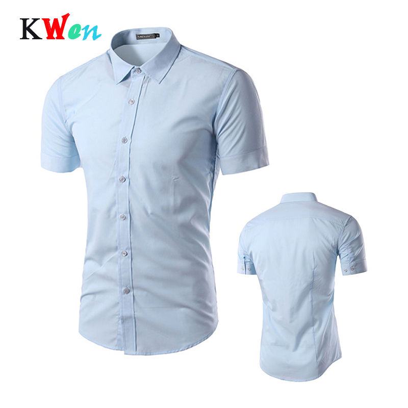 Fashion Mens Shirt Casual Slim Fit Business Formal Short Sleeve Shirt 2019 Summer Mens Solid Chemise Homme Asian Size 3XL