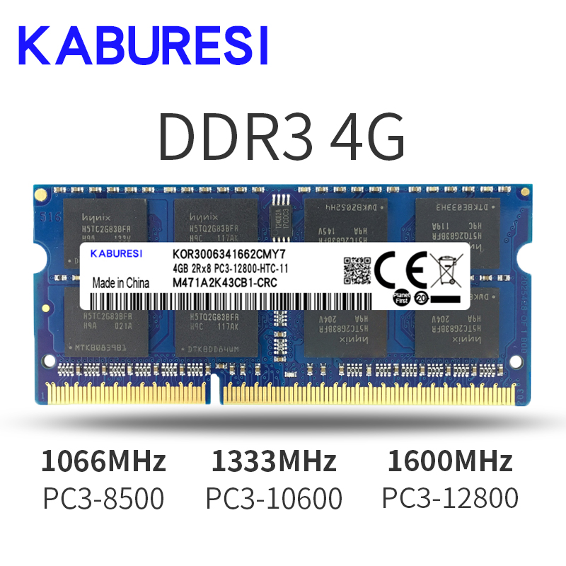 kaburesi <font><b>DDR3</b></font> 2G <font><b>1066MHz</b></font> 4G <font><b>1066MHz</b></font> pc3-8500 so-dimm <font><b>ram</b></font> 4gb for Laptop <font><b>RAM</b></font> notebook memoria memory image