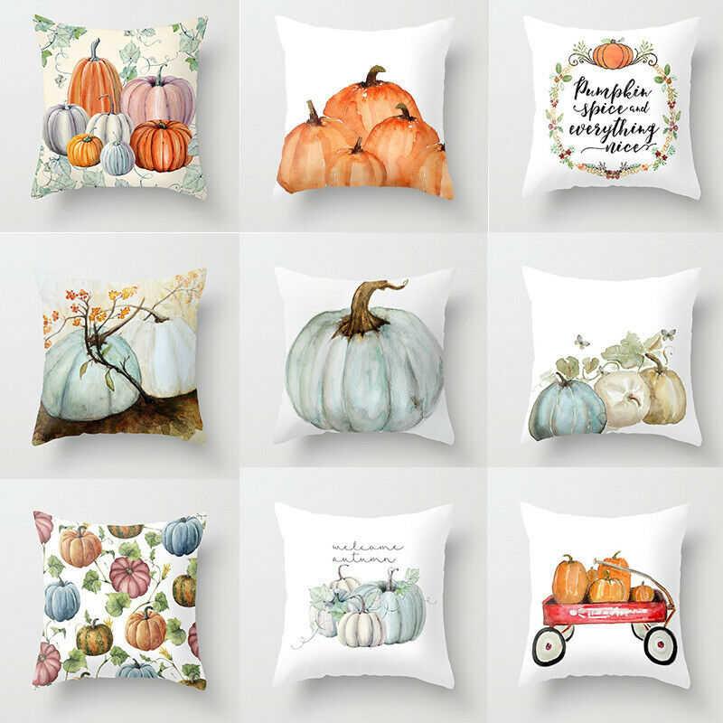 Trendy Fall Halloween Pumpkin Pillow Case Polyester Waist Throw Cushion Cover Sofa Home Decor