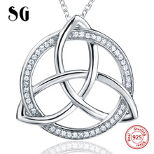 SG New recommend 925 sterling silver Round chain pendant&necklace with white Zirconia diy fashion jewelry making for women gifts
