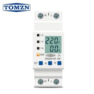 Image 1 - 63A 80A 110V 230V Din rail adjustable over under voltage protective device current limit protection Voltmeter ammeter Kwh