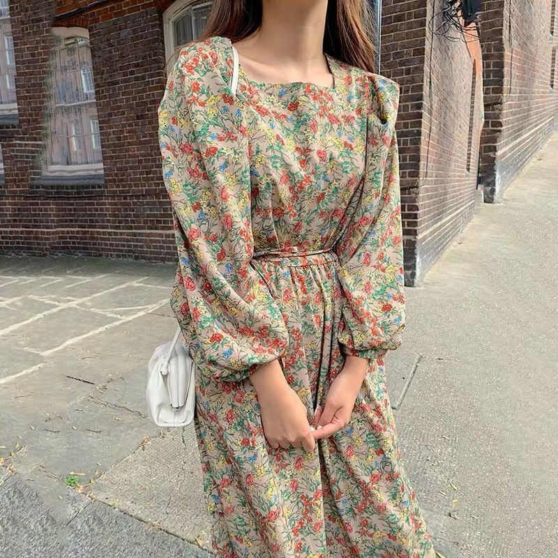 Women Spring Square Collar Long Sleeve Long Floral Dresses Elegant Vintage High Waist Ruffle Dresses With Waist Belt
