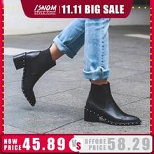 Botines Chelsea con remaches para mujer, botines de invierno de piel auténtica, zapatos de tacón cuadrado alto, calzado para mujer 2020