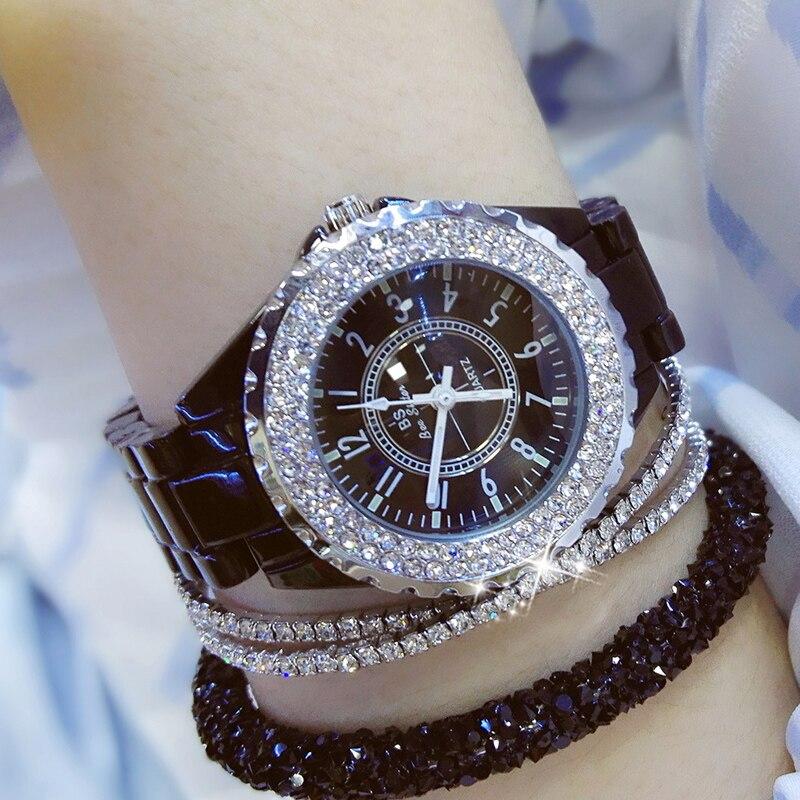 2019 Luxury Crystal Wristwatches Women White Ceramic Ladies Watch Quartz Fashion Women Watches Ladies Wrist watches for Female 3