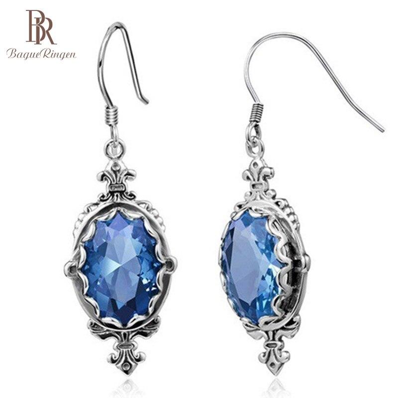 Bague Ringen Luxury Gemstone Aquamarine Earrings For Women Vintage Thai Silver 925 Jewelry Female Ear Drops For Party Wholesale