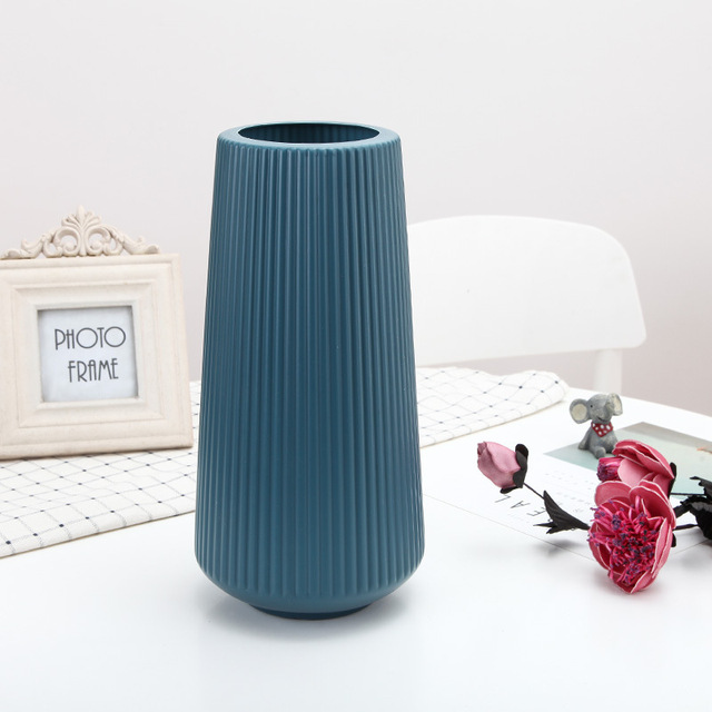 Origami White Plastic Vase Imitation Ceramic Artificial Flower Bottle Flower Vase for Dining Table Nordic Decoration Home Pot 2