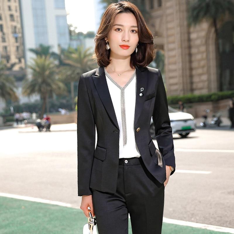 Purple White Formal Elegant Women's 2 Piece Set Pants Suits Blazer Jacket Office Lady Work Business Uniform Trousers Clothing