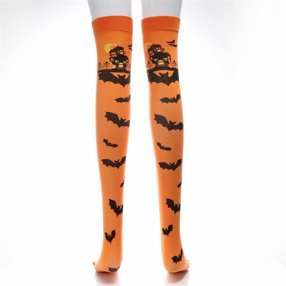 Musim Dingin Wanita Stoking Halloween Cetak Tabung Panjang Lutut Fancy Dress Pesta Gaun Lucu Alat Peraga Calcetas Largas FD