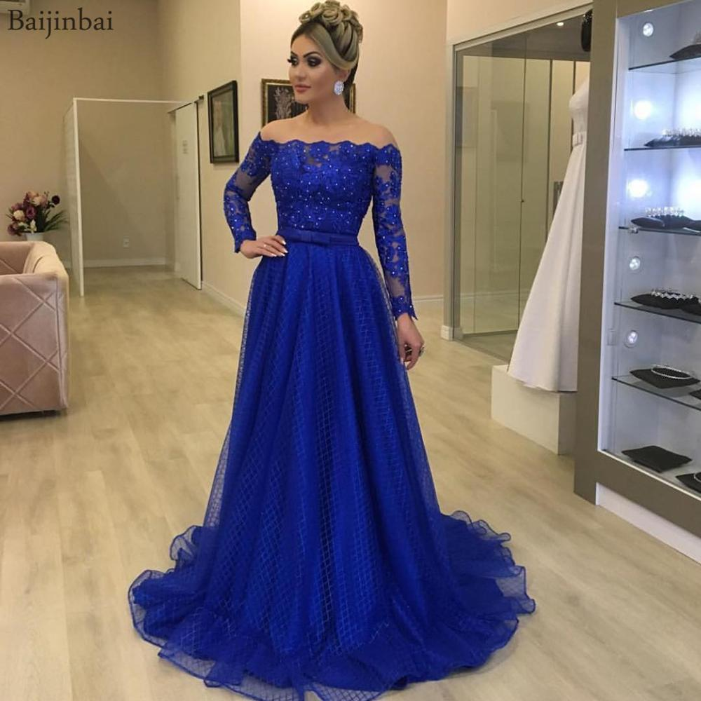 Baijinbai Off Shoulder Long Sleeves Ball Gown Prom Dresses Crystals Lace Formal Dress Robe De Soiree With Bowknot Belt Evening