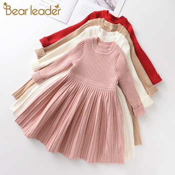 Bear Leader Long Sleeve Sweater Dress Girls Princess Baby Girl Clothes Sweet Tutu Party Dresses Christmas Little Girl Clothes long sleeve baby girl dress newborn princess infant baby girl clothes mesh tutu ball gown party dresses little girls clothes