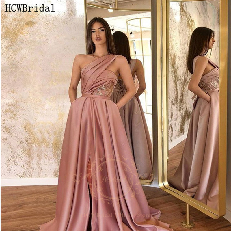 Dusty Rose Long Sexy Prom Dresses One Shoulder High Slit Satin Plus Size Formal Occasion Party Dress Robe De Soiree Abendkleider