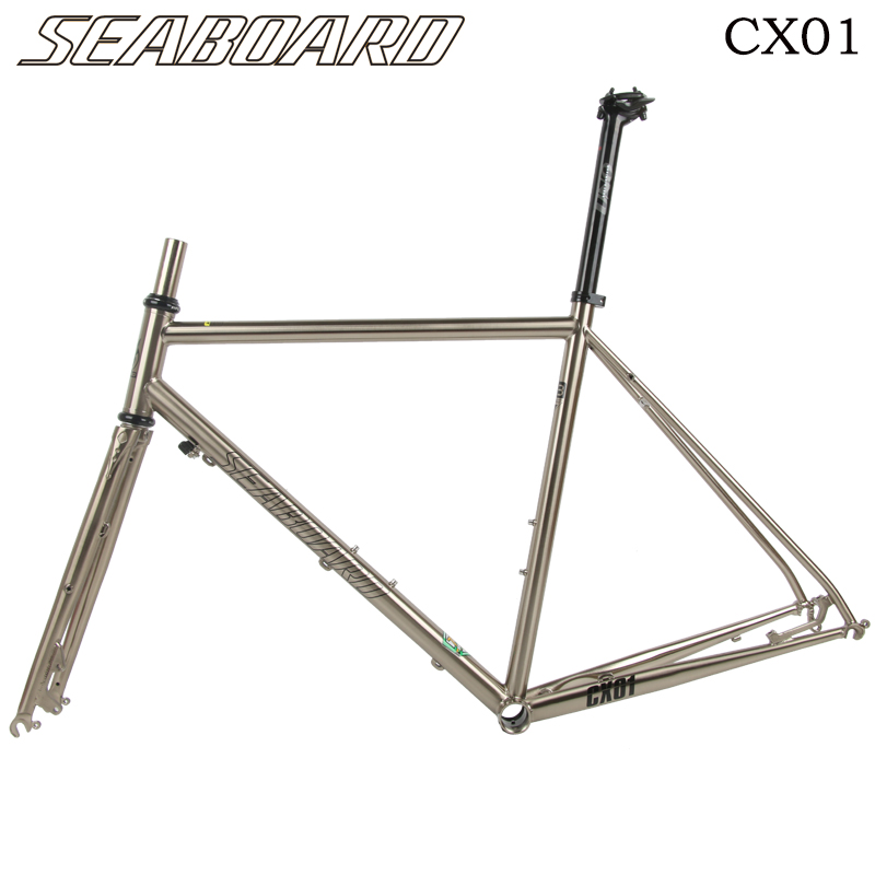 SEABORAD Chromium Road Bike Frame Fork 700C Classic Silver Frameset Disc Brake 4130 Heat Treat Steel Bicycle Frame Forks
