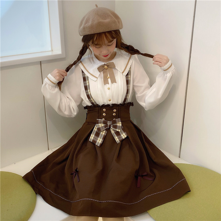 Sweet Women's Doll Collar White Blouse Shirt Tops & Brown Suspender Skirt Retro Casual Overalls Bowknot Trim Skirt Preppy Style