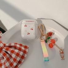 Nette Obst Kirsche Kopfhörer Headset Zubehör Weiche TPU Fall Für Airpods 1 2 Pro Schutzhülle Drahtlose Bluetooth Headset Abdeckung