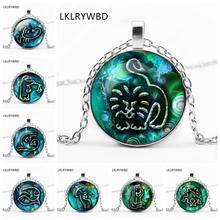 LKLRYWBD / Popular 12 Zodiac Pattern Necklace Constellation Round Pendant Best Gift