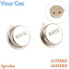 5 pçs 315 433 mhz ressonador oscilador de cristal r315a r433a quartzo através de furos superfície onda acústica oscilador kit redondo 3 pinos
