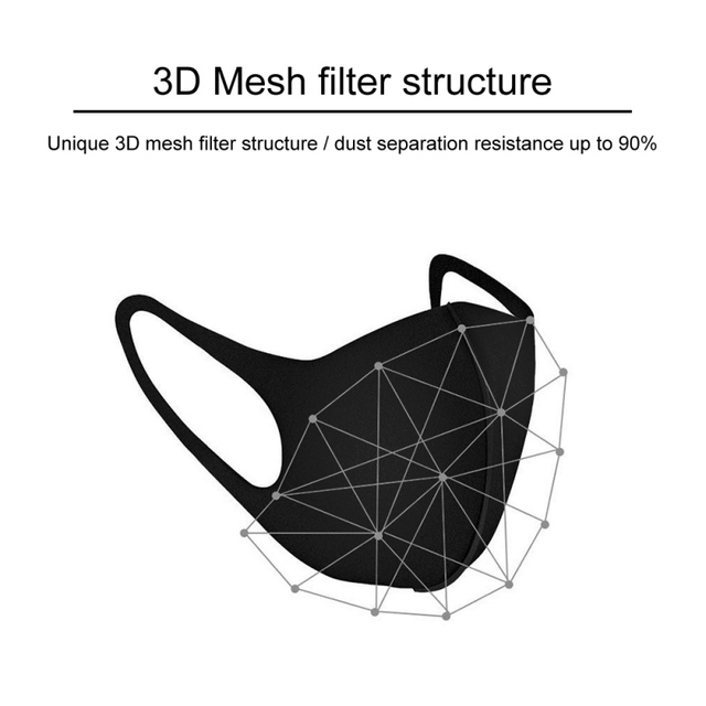 3PCS Washable Anti-Dust Mask Black Cycling Mouth Face Respirator Mask For Adults 1