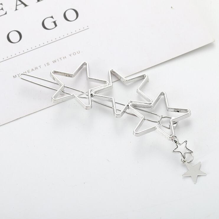 Заколка для волос, женские ножницы, бриллианты, круглые, луна, лист, единорог, сердце, простой, золотой, серебряный, для девочек, модный Подарочный Шарм - Цвет: Silver