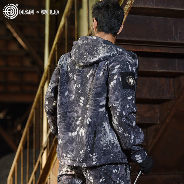 HAN WILD Tactical Jackets Hunting Suit Men Soft Shell Jacket Army Windproof Camo Shark Skin Military Hiking Jacket+Pants 5XL 4