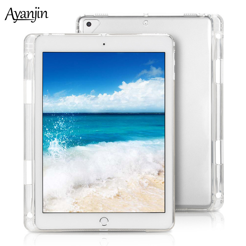 Silicon Soft Translucent Clear TPU Case For IPad 10.2 2019 With Pencil Holder Tablet Cover For IPad 7 7th Generation 10.2 Inch