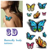 Waterproof Temporary Tattoo Sticker Fake 3D Colorful Butterfly Body Art Tattoos 5 Sheets
