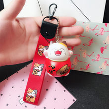New Cartoon Lucky Cat Keychain Women Car Key Ring Charm Bag Pendant Accessories Couple Gift Maneki Neko Keyfob(China)