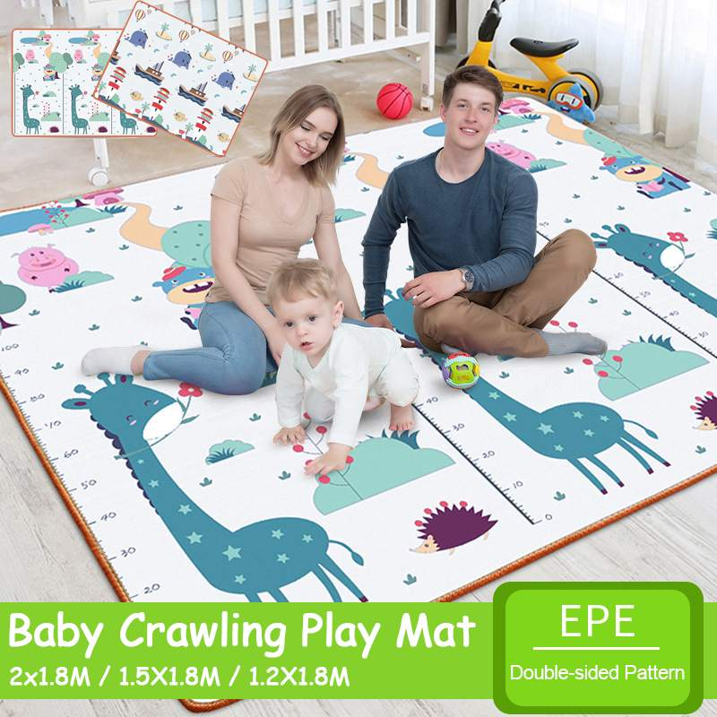 180X150cm Double-sidedFoldable Cartoon Baby Play Mat EPE Puzzle Children's Mat Baby Climbing Pad Kids Rug Baby Games Mats