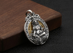 Image 5 - Real 925 prata tibetano amarelo jambhala buda pingente de prata esterlina zambhala riqueza buda pingente amarelo fortuna deus pingente