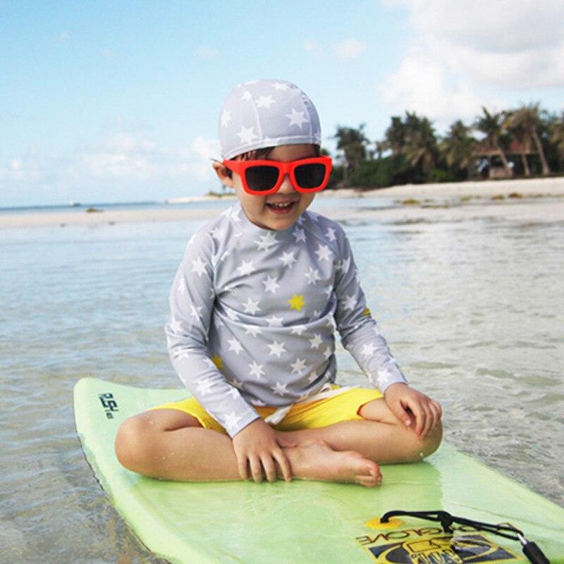 KID'S Swimwear Haiyishan 2017 South Korea Middle And Large BOY'S Boy Students Long Sleeve Split Type Boxer Swim Bathing Suit
