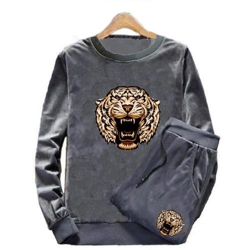 Men's Velour Velvet Sport Sweatshirt Tracksuit Track Suit Outwear 2PC Jacket Coat Pants Trousers Sets Outfits Tiger Print