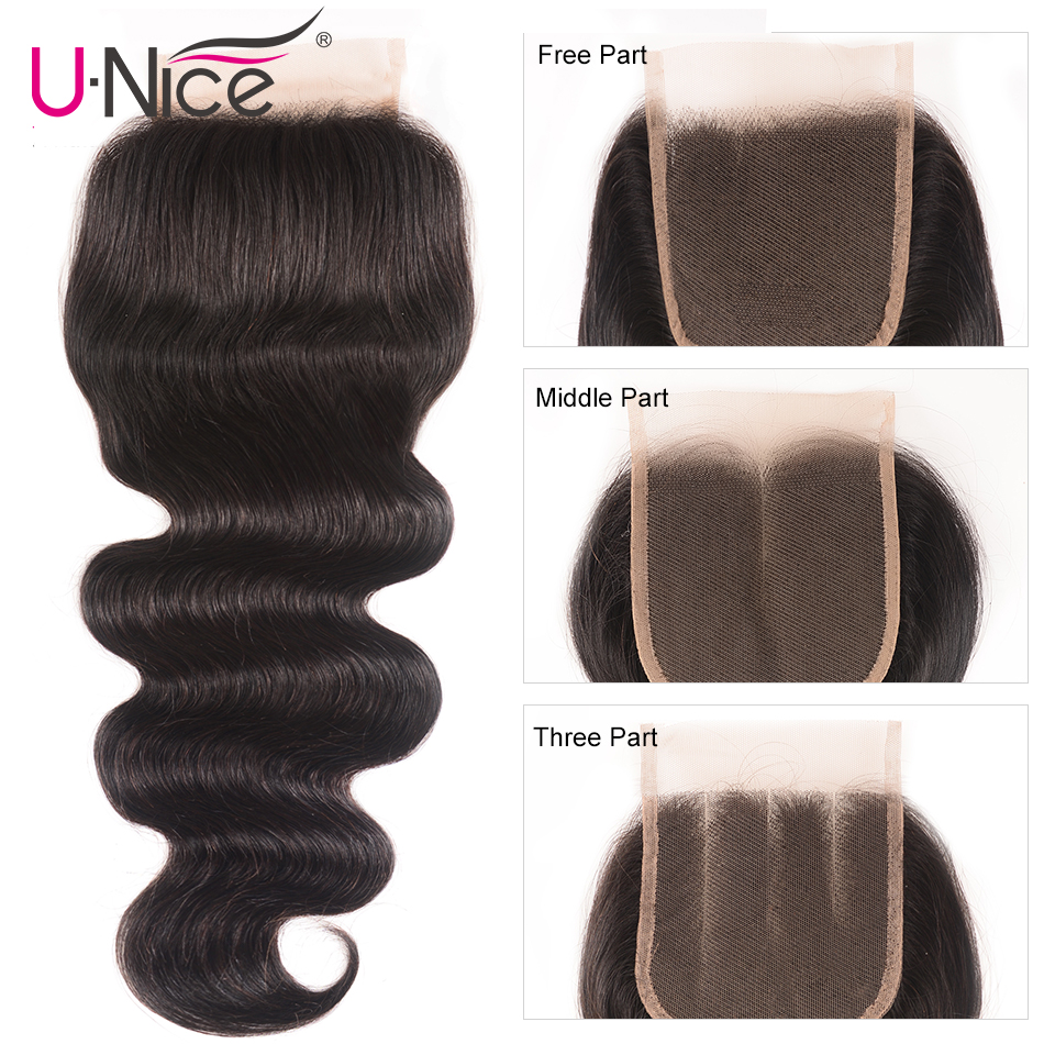 UNice Hair Brazilian Body Wave Closure Swiss Lace Middle &Free &Three Part RemyHuman Hair Lace Closure 1 Piece 10