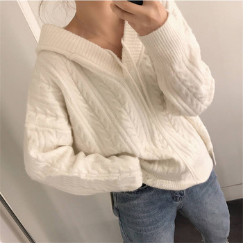 Knitwear pull korean female fashion hooded with gauze Pullovers Winter autumn Sweater Jumpers for women Knitted Pullover Sweater 1