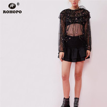 ROHOPO Smocking High Waist Cascading Ruffled Black Mini Skirt Ladies Cute Preppy Girl Chic Solid Falda # 1289