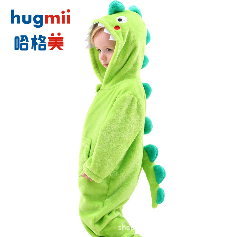 Hugmii CHILDREN'S Pajamas Nightgown Bathrobe Long Sleeve One-piece Spring, Autumn And Winter Men And Women Children Stereo Model