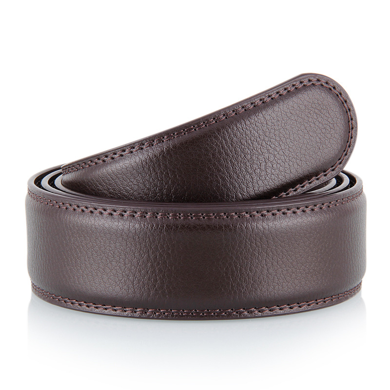Luxury Brand Belt Strap No Buckle for Mens Automatic Male Genuine Leather Waistband Ceinture Homme 3.5cm
