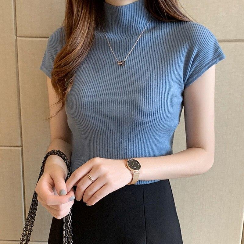 Women's T Shirt Half Turtleneck Solid Color Fashion Casual Rib Knitted Short Sleeve Slim Fit T-Shirt Summer Basic T Shirt