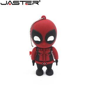 JASTER USB 2.0 flash pendrive Deadpool driver della penna 4GB 16GB 32GB 64GB Spiderman Memory Stick Creativo giocattolo del fumetto del Regalo del commercio all'ingrosso(China)