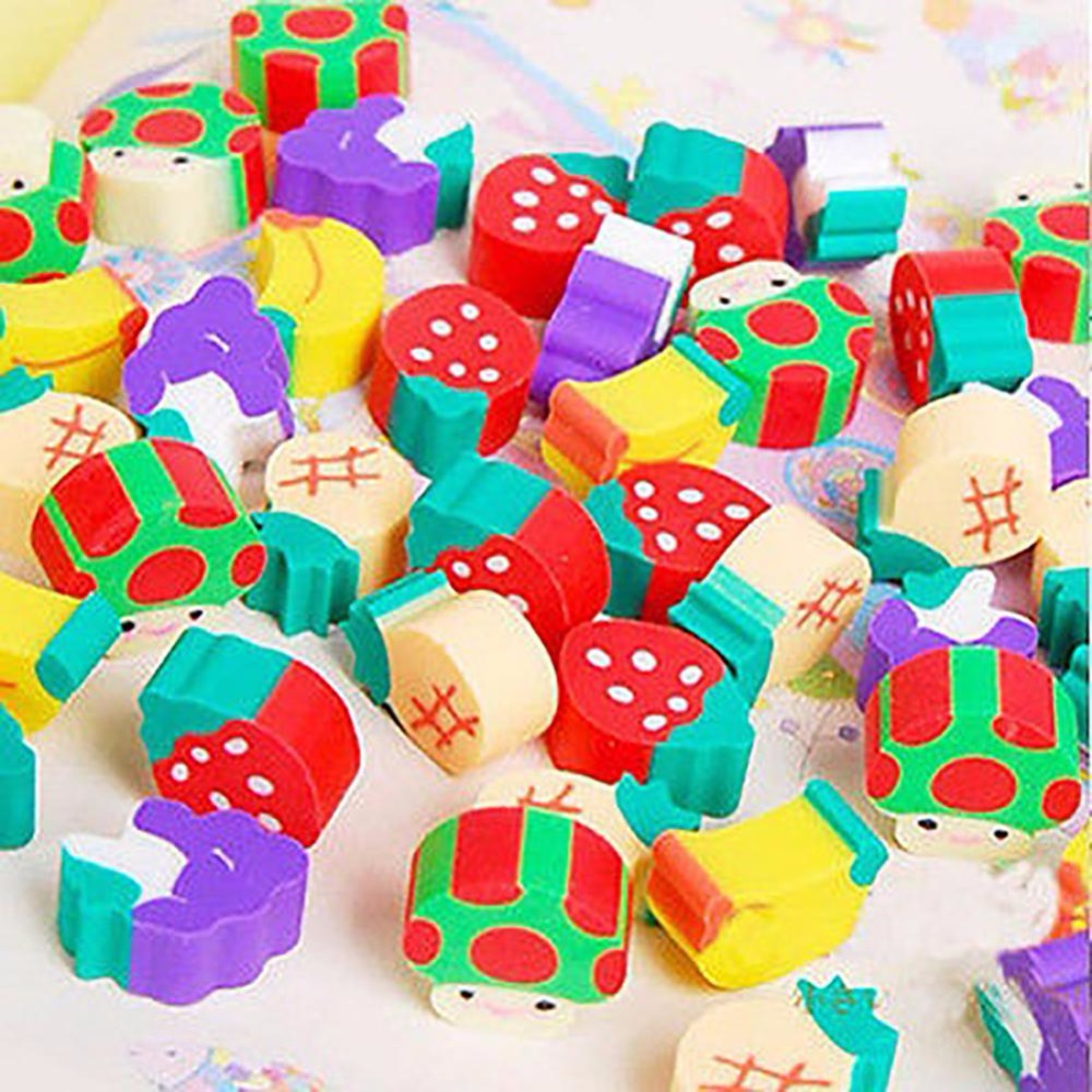 50Pcs/lot Mini Fruit Rubber Eraser With Plastic Bottle For Kids Gift Novelty Rubber Eraser School Supplies