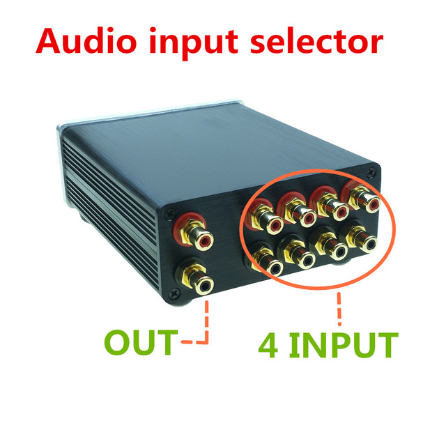 Signaal splitter 4 IN 1 OUT audio rca connector signaal selector Bron Selector HIFI input rca kabel switcher schalter doos
