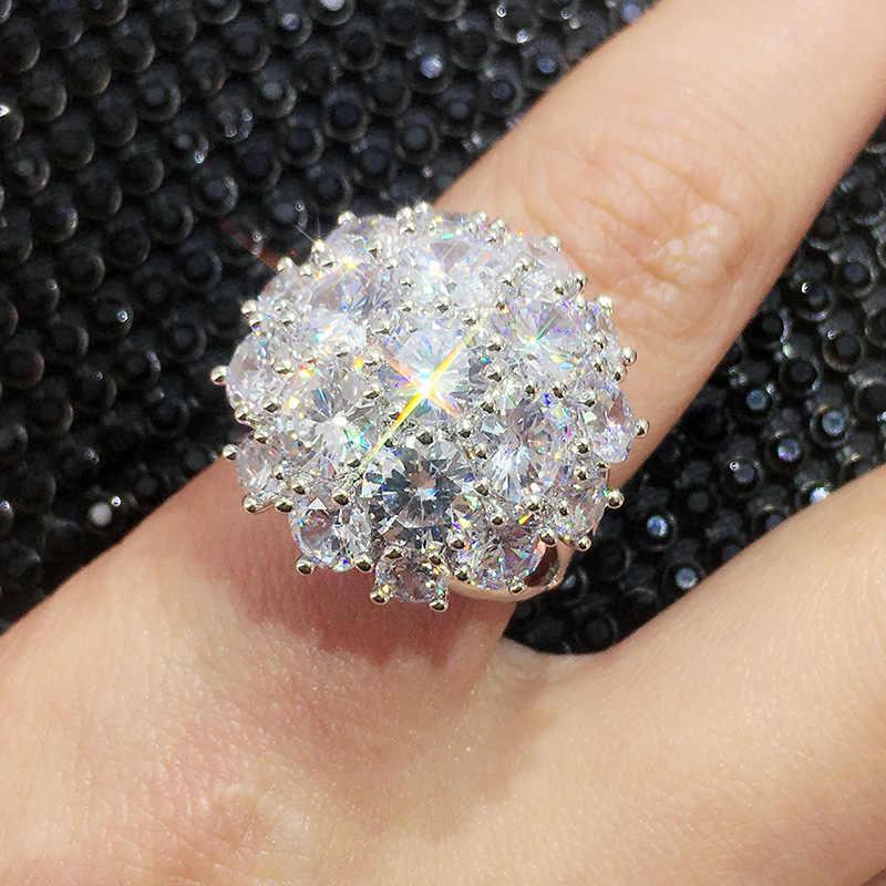 925 スターリングシルバー色の花シャープビッグジルコン女性ファッションウェディング婚約ジュエリー 2019