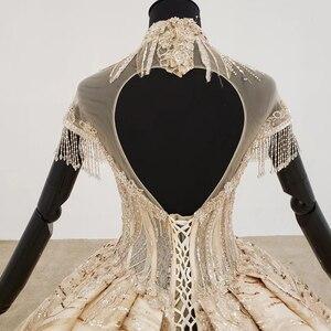 Image 5 - HTL1257 2020 long dresses evening high neck short sleeve beading tassel applique dubai evening dresses платье на выпускной new