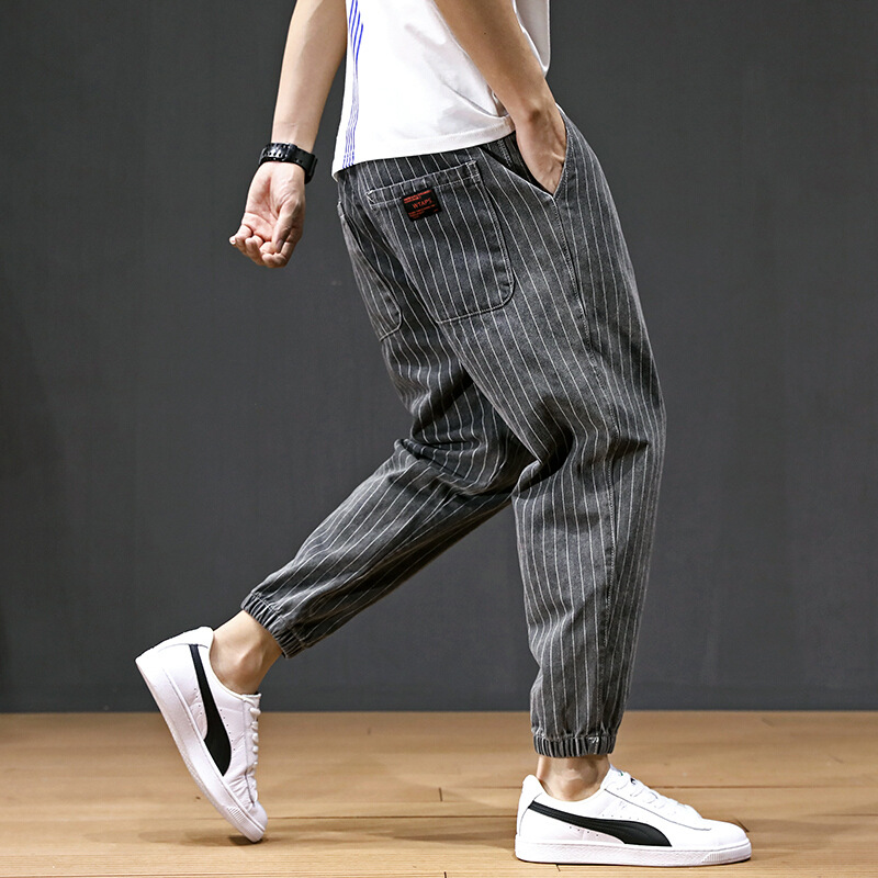 Men's Casual Xi Ha Ku 2019 Autumn And Winter New Style Trend Of Fashion Stripes Harem Pants Youth Loose-Fit Ankle Banded Pants S