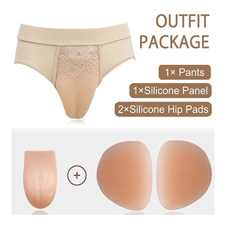 ONEFENG Crossdressing Gaff Panty For Crossdressers Feminine Hiding Gaffs Thong Underwear With Hip Butter Lifter Pads