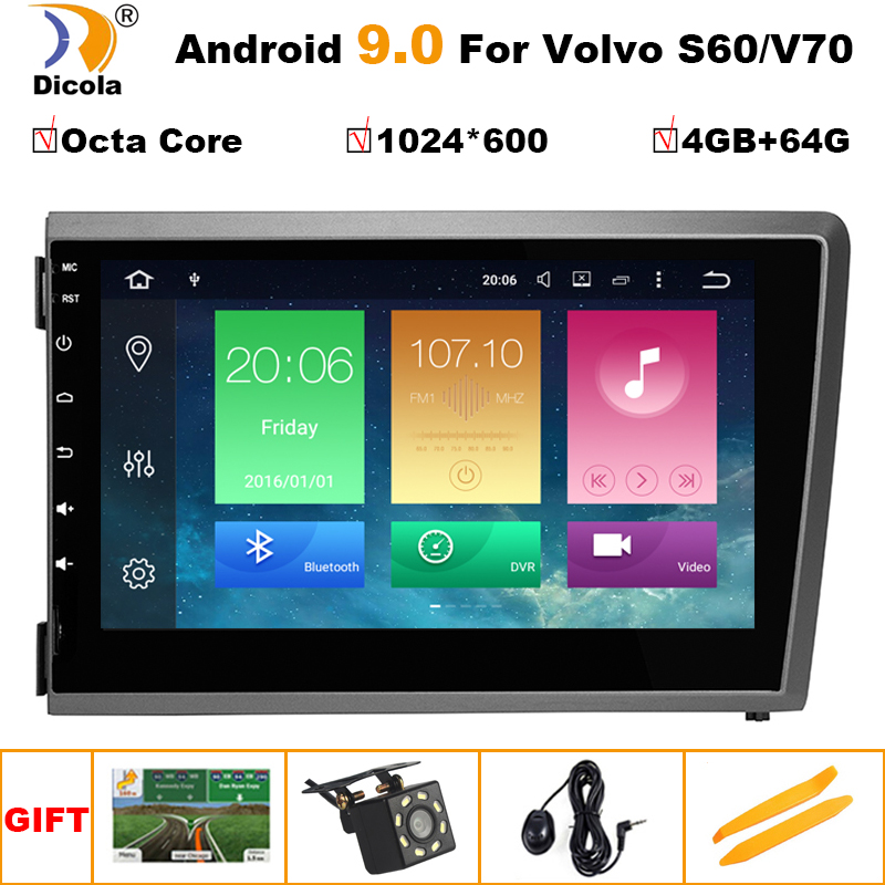 Android 9.0 <font><b>2</b></font> <font><b>DIN</b></font> IPS SCREEN CAR DVD PLAYER for Volvo S60 V70 XC70 2000 <font><b>2001</b></font> 2002 2003 2004 multimedia PLAYER radio GPS steteo image